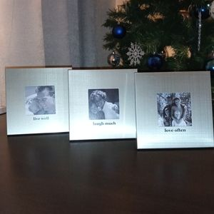 Square Picture Frames Set - Three Silver w/ Quotes
